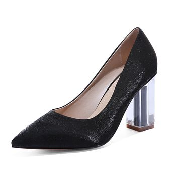 Pointed Toe Wedding Shoes High Heels Block Heel Chunky Pumps Shoes Woman