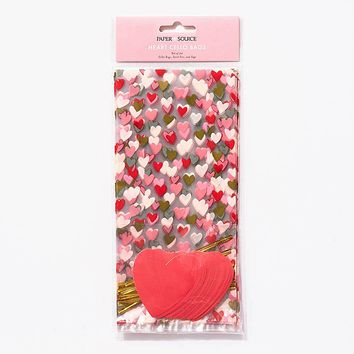Heart Cellophane Bags with Tags (Set of 20)