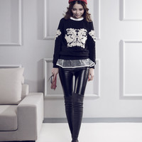 Thread Stitching Leather Leggings in Black or Gray