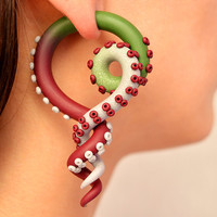 """Color Fade Tentacle Gauges, Fake Plugs and Ear Plugs from 6g to 3/4"""" for Stretched Lobes, Tentacle Earrings, Fake Gauge Earrings, Octopus"""