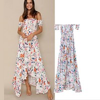 Fashionable printed brassiere skirt female summer new off shoulder dress