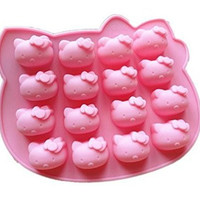 Runde@ 16 Cavity Hello Kitty Biscuit Cake Pan Silicone Cake Baking Mold Ice Cube Lattice Tray Chocolate DIY Handmade Soap Moulds