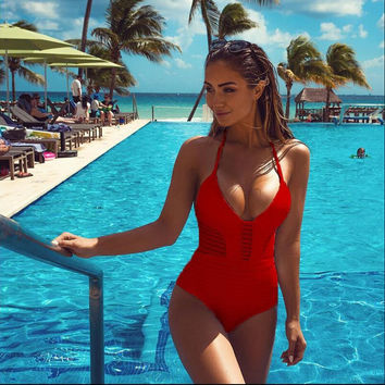 Hollow Out One Piece Swimsuit