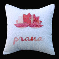 Pink, prana, lotus, handmade quilted pillow cover, meditation room, bedroom, yoga quilts, yoga teacher, yoga, gifts, yogis, accent pillow
