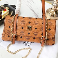 MCM Fashion New Monogram Print Leather Shoulder Bag Crossbody Bag Brown