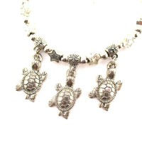 Stars and Turtles Shaped Charm Bracelet in Silver | Animal Jewelry