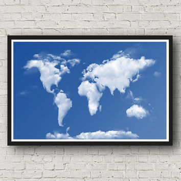 Clouds, Christmas, Map of the World, 35% Off Sale, Wall Art, World Map Poster, Art Print, World Map Print, World Map Art, 11 x 17, Gift Idea