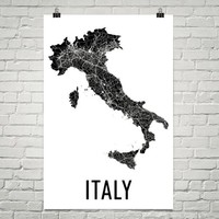 Italy Wall Map Print - Modern Map Art