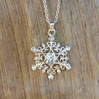 Elsa Snowflake Necklace, Adult and Children Sizes, Elsa Frozen Necklace, Once Upon a Time, Crystal Snowflake Frozen Jewelry, Frozen Necklace