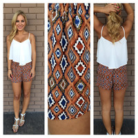 Rust & Blue Aztec Shorts