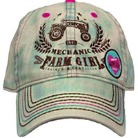 Farm Girl Tractor Mechanic Cap with Velcro Strap