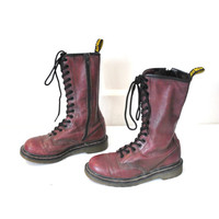 size 7 tall DOC MARTEN boots 80s 90s vintage GRUNGE oxblood purple lace up leather Dr Marten combat boots