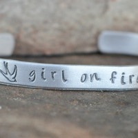 Hunger Games Cuff bracelet - Hand Stamped - Girl on Fire