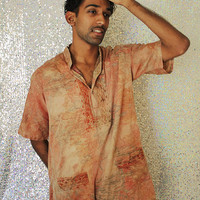 Marble Madness // Mens Womens Unisex Silk Shirt Tunic Embroidered
