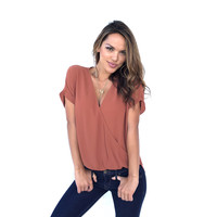 Always On the Go Blouse In Rust