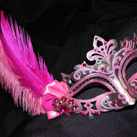 Feather Mask in Shades of Pink and Silver - Made to Order
