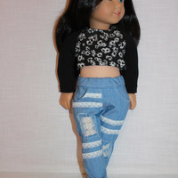 18 inch doll clothes, black floral crop top, blue ripped skinny jeans with lace, american girl ,maplelea