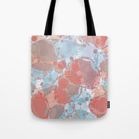 Round And Round Coral Blue Tote Bag by allycoxon