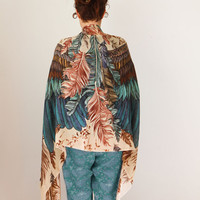 Exotic colors Women SILK COTTON scarf, Hand painted Wings and feathers, stunning unique and useful, perfect gift