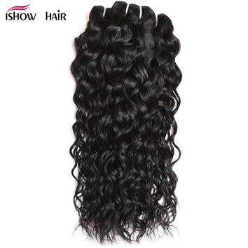 Ishow Indian Water Wave Hair 3 Bundles Real Human Hair Extension Natural Black Non-Remy Hair Can Be Dyed 100g/pc Hair Weave