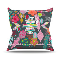 "Anneline Sophia ""Aztec Boho Tropical"" Gray Rainbow Outdoor Throw Pillow"