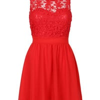 Red Floral Lace Sundress
