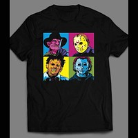 HORROR MOVIE VILLAINS, LEATHER FACE, MIKE MYERS,FREDDY, AND JASON POP ART SHIRT