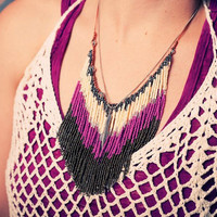 Tribal Chevron Necklace - Southwestern Bib