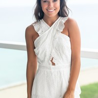 Ivory Embroidered Romper with Pockets