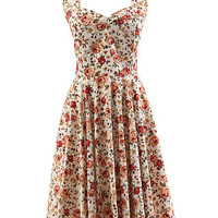Beige Floral Halter Backless Sheath A-Line Pleated Mini Dress