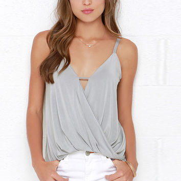 Grey Strappy Wrap Front Top