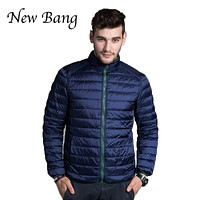 2017 New Ultra Light Duck Down Jacket Men Autumn Winter Double Side Feather Reversible Parka 90 White Duck Down Plus Size 3XL