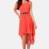 Cinnamon City Belted Coral Red Dress