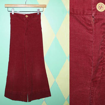 Kids vintage 70s CORDUROY FLARE PANTS / Brick Red Sailor Pants / Youth High Waisted Bell Bottoms / Elastic Waist / Unisex Boy Girl / 6-8 yo