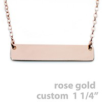"""Gold Name Plate Necklace Custom Rose Gold 1.25"""""""