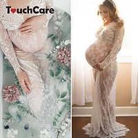 Touchcare Lace Dresses Maternity Photography Props Transparent Pregnant Evening Dress