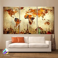 "LARGE 30""x 60"" 3 Panels 30""x20"" ea Art Canvas Print Original Wonders of the world Old Paper Map vintage Wall decor Home interior"