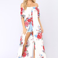 Tropic Like Its Hot Hi Lo Top - White/Floral