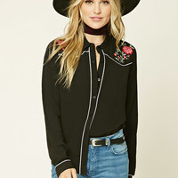 Floral Embroidered Collar Shirt