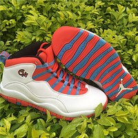"Air Jordan 10 ""Chicago Flag"" red/blue Basketball Shoes 40--47"