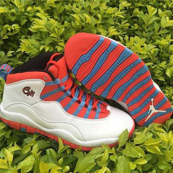 "Air Jordan 10 ""Chicago Flag"" red/blue Basketball Shoes 41--47"