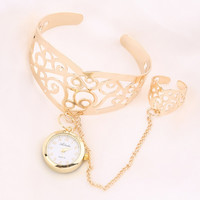 Elegant Vintage Retro  Lady Gold Plated Bracelet with Ring With Watch