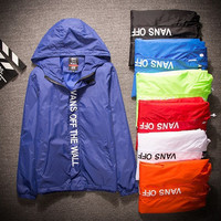 Vans: thin coat sunscreen jacket windbreaker men and women leisure lovers