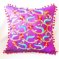 Fuchsia Turkish Traditional Decorative Pillow, Bohemian Cushion Cover, Floral Decorative Pillow, Embroidered Pillow, Boho Pillow Case