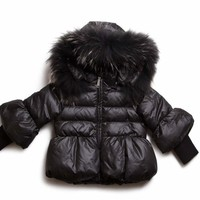 Pramie Black Puffed Down Girls Coat