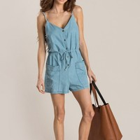 Andie Chambray Pocket Romper