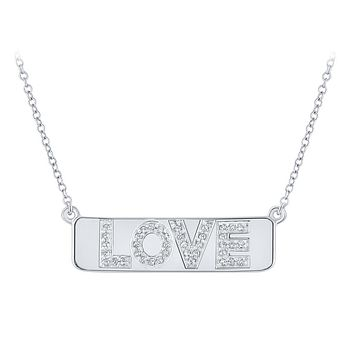 "10k White Gold Round Diamond Love Bar Pendant Necklace with 18"""" Chain 1/8 Cttw"
