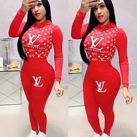Louis Vuitton LV Fashion Women Hoodie Long Sleeve High Waist Top Pants Set Two-Piece