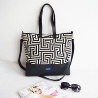 Large canvas tote bag shopping bag casual tote school bag black greek labyrinth pattern book bag black genuine leather strap crossbody bag