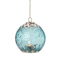 Small Aquamarine Globe Candle Lantern